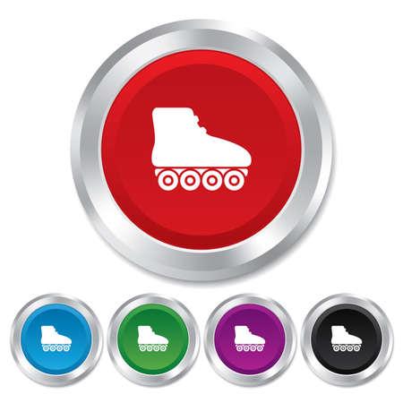 rollerblades: Roller skates sign icon. Rollerblades symbol. Round metallic buttons. Vector