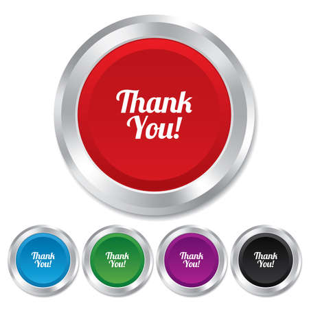 thanks a lot: Thank you sign icon. Customer service symbol. Round metallic buttons. Vector
