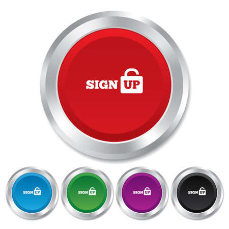 lock up: Sign up sign icon. Registration symbol. Lock icon. Round metallic buttons. Vector Illustration