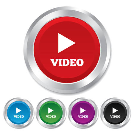 Play video sign icon. Player navigation symbol. Round metallic buttons. Vector Vector