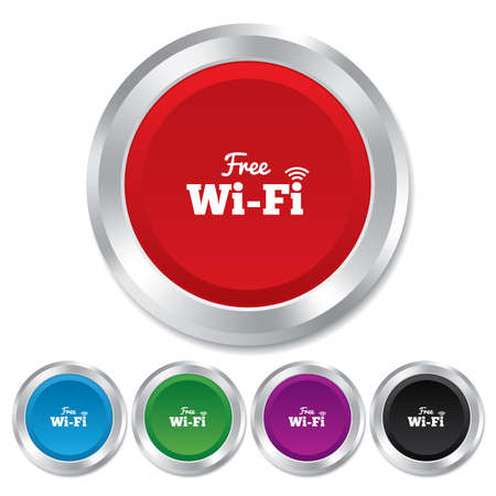 Free wifi sign. Wifi symbol. Wireless Network icon. Wifi zone. Round metallic buttons. Vector Vector