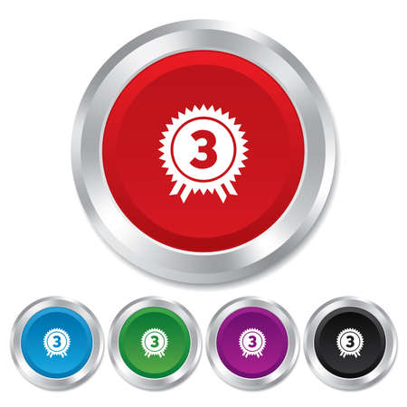 Third place award sign icon. Prize for winner symbol. Round metallic buttons. Vector