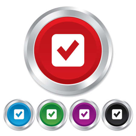 Check mark sign icon. Checkbox button. Round metallic buttons. Vector Vector