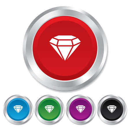 Diamond sign icon. Jewelry symbol. Gem stone. Round metallic buttons. Vector Vector