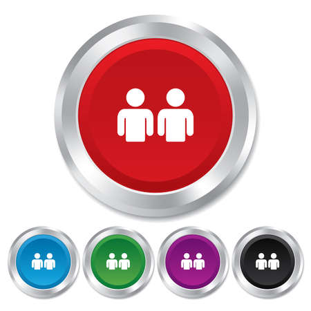 two friends talking: Friends sign icon. Social media symbol. Round metallic buttons. Vector Illustration