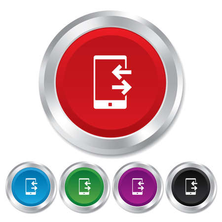 outcoming: Incoming and outcoming calls sign icon. Smartphone symbol. Round metallic buttons. Vector