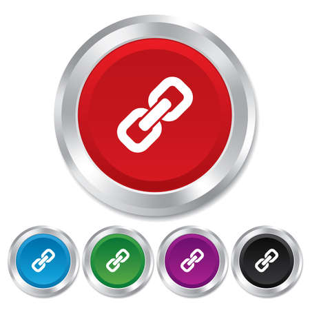 hyperlink: Link sign icon. Hyperlink chain symbol. Round metallic buttons. Vector