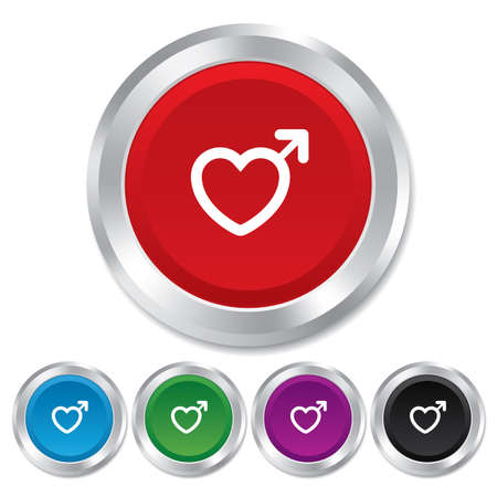 Male sign icon. Male sex heart button. Round metallic buttons. Vector Vector