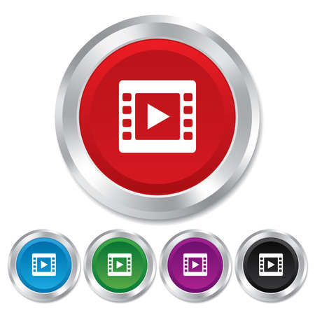 Video sign icon. Video frame symbol. Round metallic buttons. Vector Vector