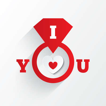 i love you sign: Engagement ring. I love you sign. Red paper heart Valentines day card. On white background. Vector illustration
