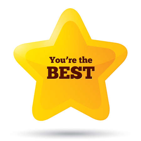 You are the best icon. Customer service award. Golden star emblem. Five-pointed shiny star. Rounded corners. Vector.