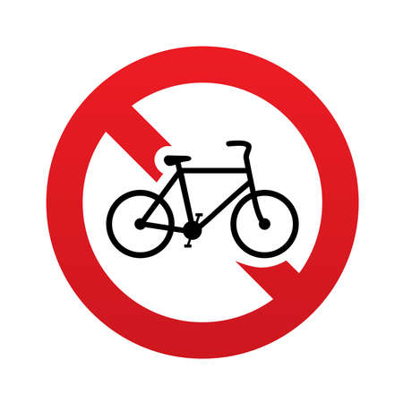 No Bicycle sign icon. Eco delivery. Family vehicle symbol. Red prohibition sign. Stop symbol. Vector illustration Vector