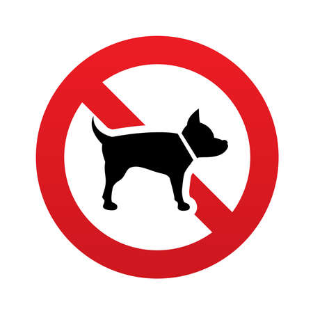 No Dog sign icon. Pets symbol. Red prohibition sign. Stop symbol. Vector illustration Vector