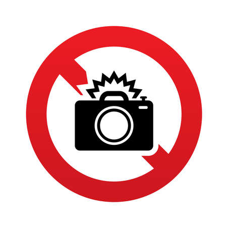 no cameras allowed: No Photo camera sign icon. Photo flash symbol. Red prohibition sign. Stop symbol. Vector illustration Illustration