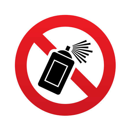 No Graffiti spray can sign icon. Aerosol paint symbol. Red prohibition sign. Stop symbol. Vector illustration Vector