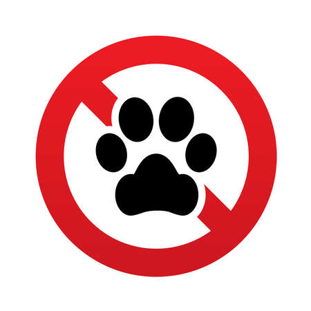 dog allowed: No Dog paw sign icon. Pets symbol. Red prohibition sign. Stop symbol. Vector illustration Illustration