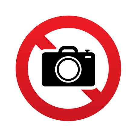 No Photo camera sign icon. Digital photo camera symbol. Red prohibition sign. Stop symbol. Vector illustration 版權商用圖片 - 24929930
