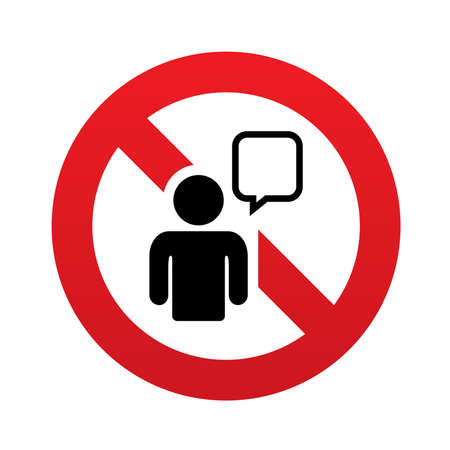 No Chat sign icon. Speech bubble symbol. Chat bubble with human. Red prohibition sign. Stop symbol. Vector illustration Vector