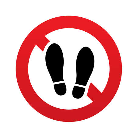 no gradient: Imprint soles shoes sign icon. Shoe print symbol. Do not stay. Red prohibition sign. Stop symbol. Vector illustration