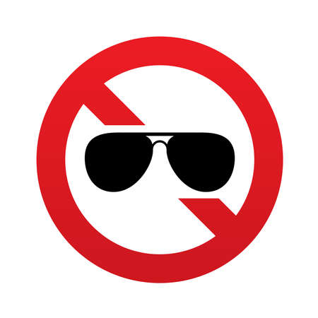 No Aviator sunglasses sign icon. Pilot glasses button. Red prohibition sign. Stop symbol. Vector illustration Vector