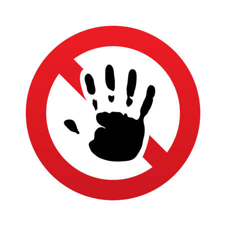 No Hand print sign icon. Stop symbol. Red prohibition sign. Stop symbol. Vector illustration Vector