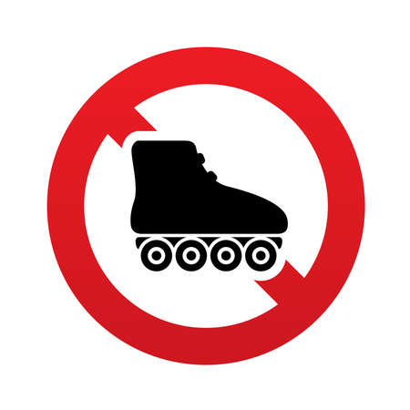 rollerblades: No Roller skates sign icon. Rollerblades symbol. Red prohibition sign. Stop symbol. Vector illustration