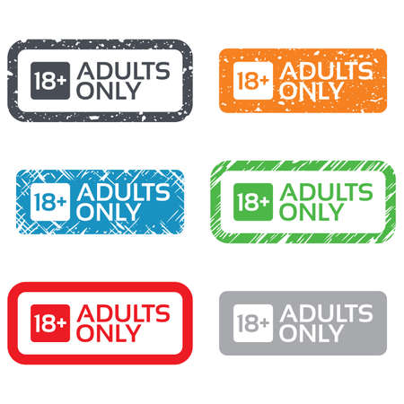 adults only: 18 years old sign. Adults content only icon. Retro Stamps and Badges. Vector