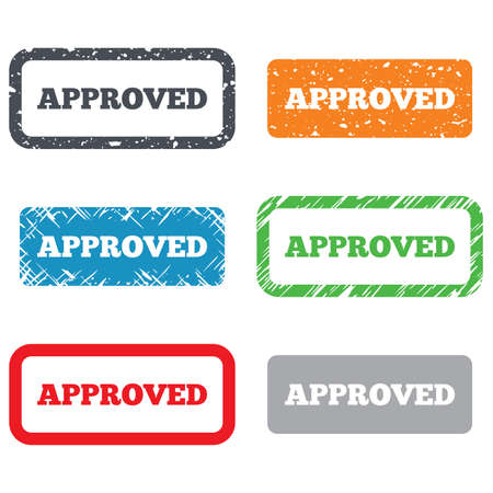 approved sign: Approved sign icon. Checked symbol. Retro Stamps and Badges. Vector