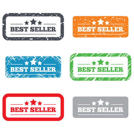 Best seller sign icon. Best seller award symbol. Retro Stamps and Badges. Vector Vector