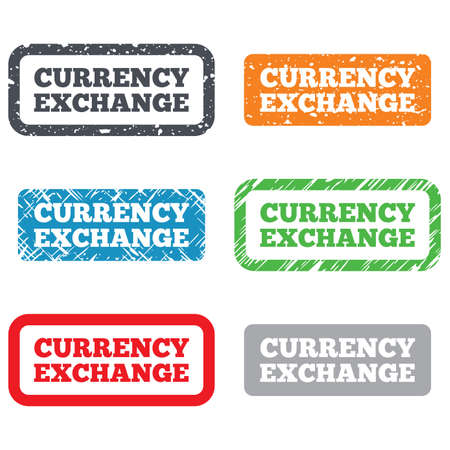 Currency exchange sign icon. Currency converter symbol. Money label. Retro Stamps and Badges. Vector Vector