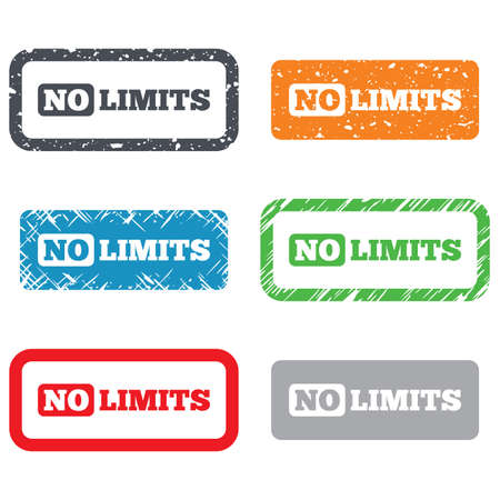 unlimited: No limit sign icon. Unlimited symbol. Retro Stamps and Badges. Vector Illustration