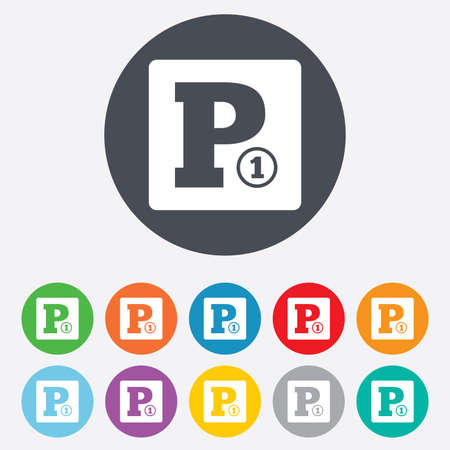 paid: Paid parking sign icon Illustration
