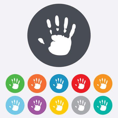 Hand print sign icon