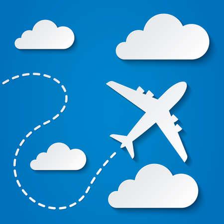 aereo: Carta volare aereo in nubi. Cielo blu sfondo di viaggio. Ritaglio icone piane. Illustrazione vettoriale.