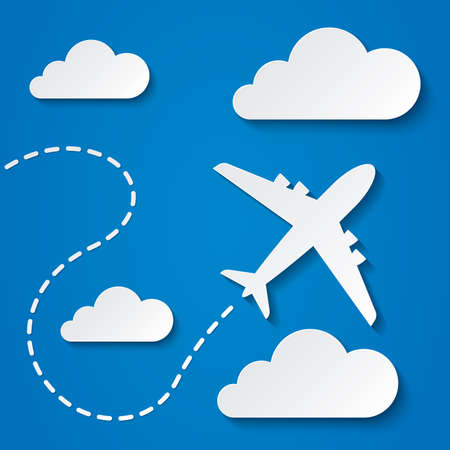 Paper flying plane in clouds. Blue sky travel background. Cutout flat icons. Vector illustration.