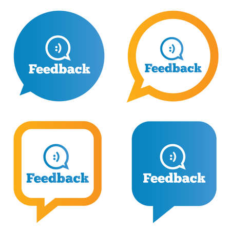 Feedback speech bubbles with smile. Feedback tags. Feedback stickers. Vector illustration. Vector