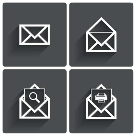 Mail icons. Mail search symbol. Print. Letter in envelope. Set of signs for messages. Vector illustration. Vector