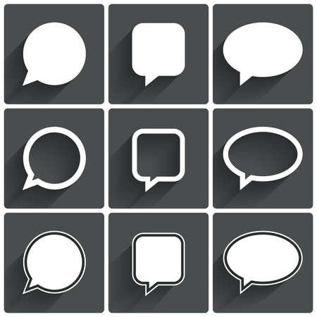 Speech bubble icons. Think cloud symbols. Vector illustration. Ilustração