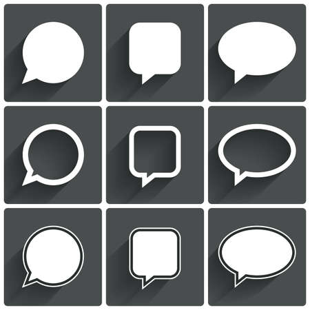 bubble speech: Speech bubble icons. Think cloud symbols. Vector illustration. Illustration