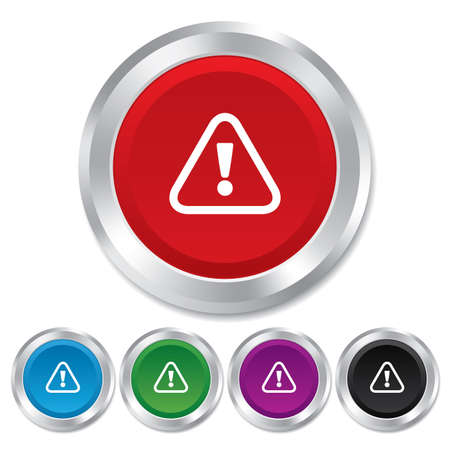 Attention sign icon. Exclamation mark. Hazard warning symbol. Round metallic buttons. Stock Photo