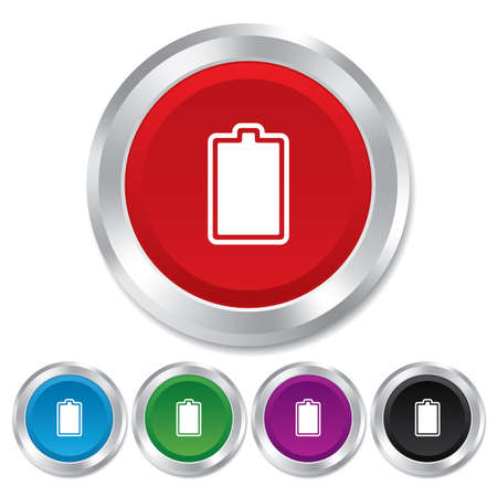 fully: Battery fully charged sign icon. Electricity symbol. Round metallic buttons.