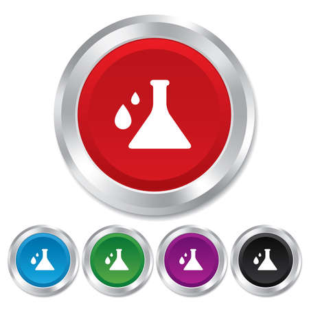 Chemistry sign icon. Bulb symbol with drops. Lab icon. Round metallic buttons. photo