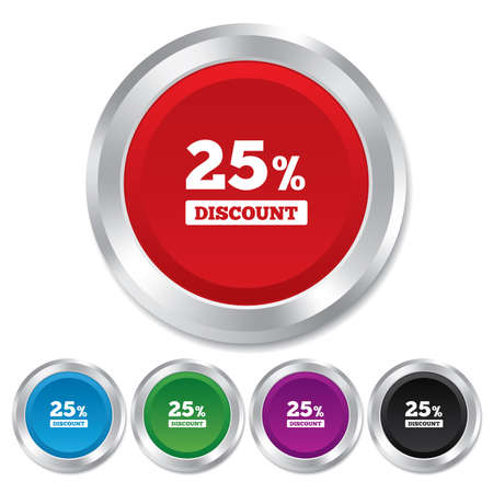 25 percent discount sign icon. Sale symbol. Special offer label. Round metallic buttons. photo