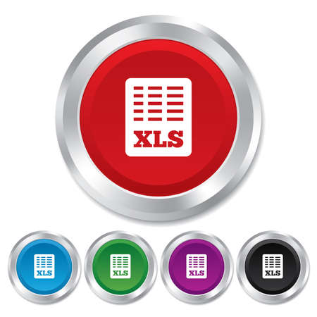 Excel file document icon. Download xls button. XLS file symbol. Round metallic buttons. photo