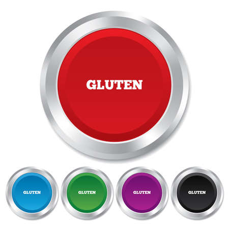 Gluten free sign icon. No gluten symbol. Round metallic buttons. photo