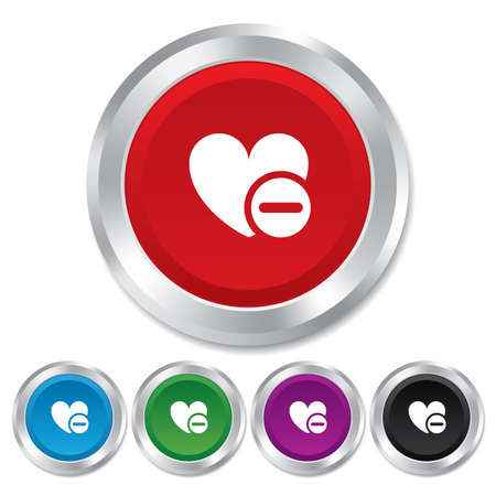 Heart sign icon. Remove lover symbol. Not love. Minus. Round metallic buttons. photo