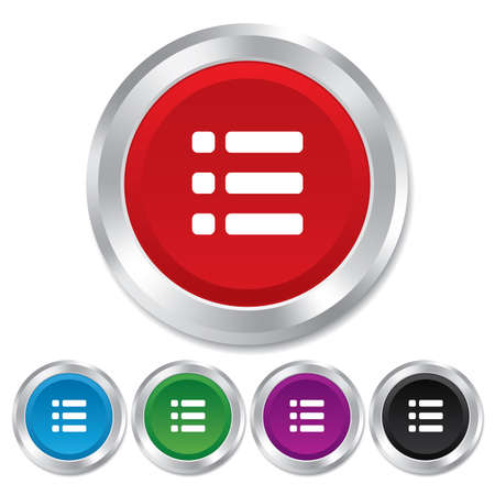 List sign icon. Content view option symbol. Round metallic buttons. Stock Photo - 25136794