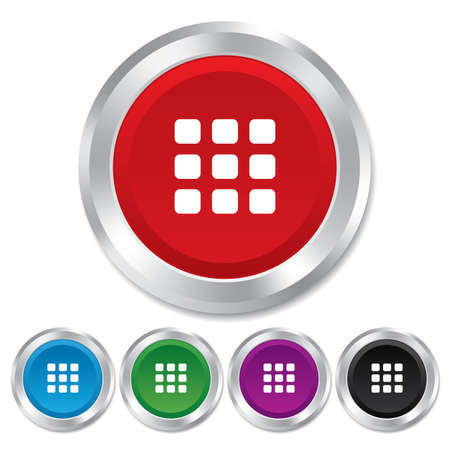 thumbnails: Thumbnails grid sign icon. Gallery view option symbol. Round metallic buttons.