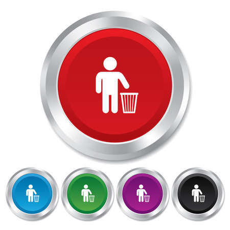 After use to throw in trash. Recycle bin sign. Round metallic buttons. Stock Photo - 25136815