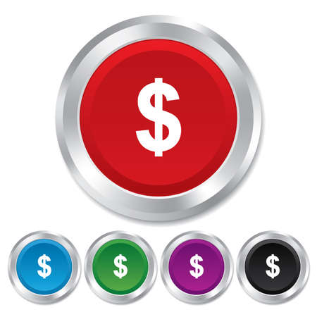 usd: Dollars sign icon. USD currency symbol. Money label. Round metallic buttons.